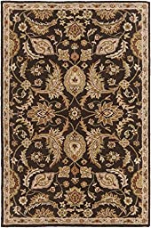 Brown Rug Classic Design 5-Foot x 8-Foot Hand-Made Traditional Wool Carpet