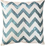 "Decorative Sequins Zig Zag Stripes Pattern Throw Pillow COVER 18"" Blue"