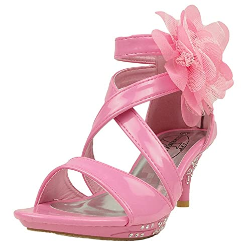 New Arrival Dress Sandals Strappy Patent Leather Flower High Heel Pink For Kids For Sale