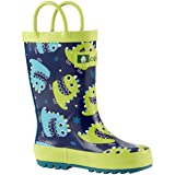 OAKI Kids Rain Boots with Easy-On Handles, Green & Blue Monsters, 4T US Toddler (Color: Green & Blue Monsters, Tamaño: 4 M US Toddler)