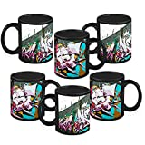 HomeSoGood Wall With A Graffiti Black Ceramic Coffee Mug - 325 Ml (Set Of 6)