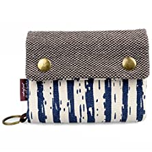 buy Katloo Teen Girls' Stripe Print Short Canvas Wallet Clutch With Finger Ring, Great As Birthday/Festival Gift + Capacitive Pen(3 Colors)