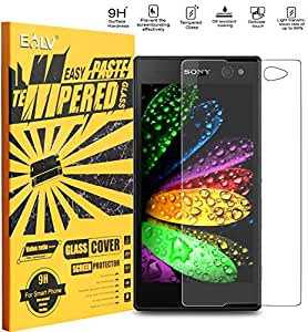 E Lv Sony Xperia C3 Anti-Shatter Tempered Glass Screen Protector Scratch Free Ultra Clear Hd Screen Guard For Sony Xperia C3 (2014) Only
