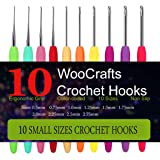 10 Small Size Steel Crochet Hook Set Thread Crochet Lace Hooks Ergonomic Handle Perfect for Arthritic Hands (Tamaño: 0.5mm,0.75mm,1.0mm,1.25mm,1.5mm,1.75mm,2.0mm,2.25m)