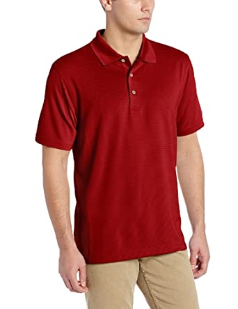 Cubavera Men's Essential Textured Performance Polo Shirt, Biking Red, Small