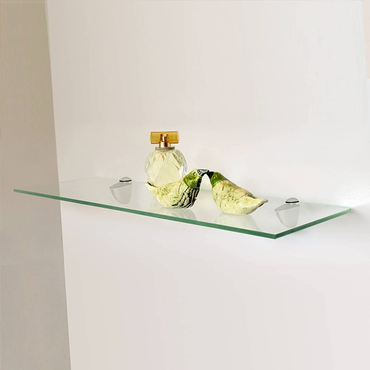 "Fab Glass and Mirror Floating Glass Shelf Kit, Rectangle, 6"" L X 24"" W, Clear"