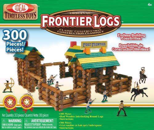 Ideal Frontier Logs Classic All Wood 300-Piece Construction Set with Action Figures - 61yRSbSdcJL - Ideal Frontier Logs 300 Piece Classic Wood Construction Set with Action Figures