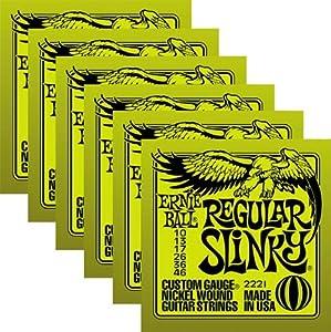 ernie ball 2221 nickel regular slinky electric guitar strings 6 pack musical. Black Bedroom Furniture Sets. Home Design Ideas