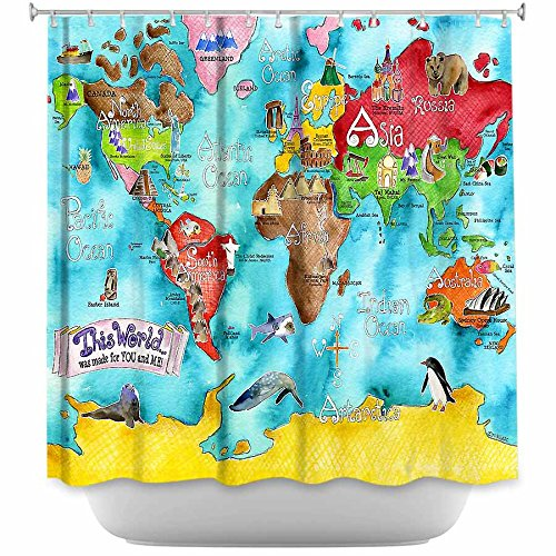 DiaNoche Designs Shower Curtains by Marley Ungaro Unique, Cool, Fun, Funky, Stylish, Decorative Home Decor and Bathroom Ideas - This World Was Made For You and Me
