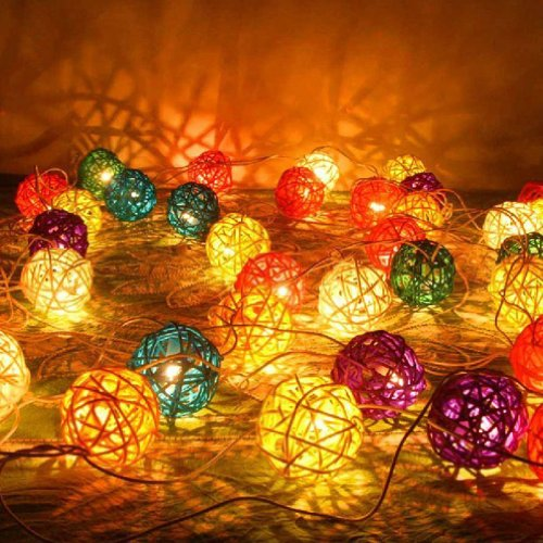 3M Colorful Rattan Ball Fairy Lights - Ideal Wedding, Christmas & Party String Lights