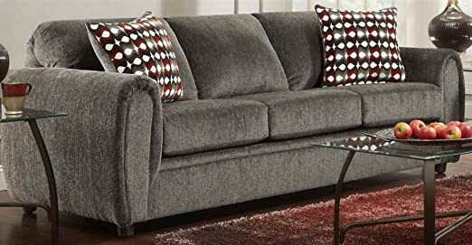 Contemporary Sofa in Champ Charcoal Finish