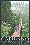 British Columbia, Canada - Capilano Suspension Bridge (9x12 Art Print, Wall Decor Travel Poster)