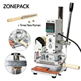 ZONEPACK Digital Embossing Machine with Stamping Letter Hot Foil Stamping Machine Manual Tipper Stamper for PVC Leather Pu and Paper Stamping with Paper Holder (Machine with Time New Roman) (Color: Silver and White, Tamaño: Machine with Time New Roman)