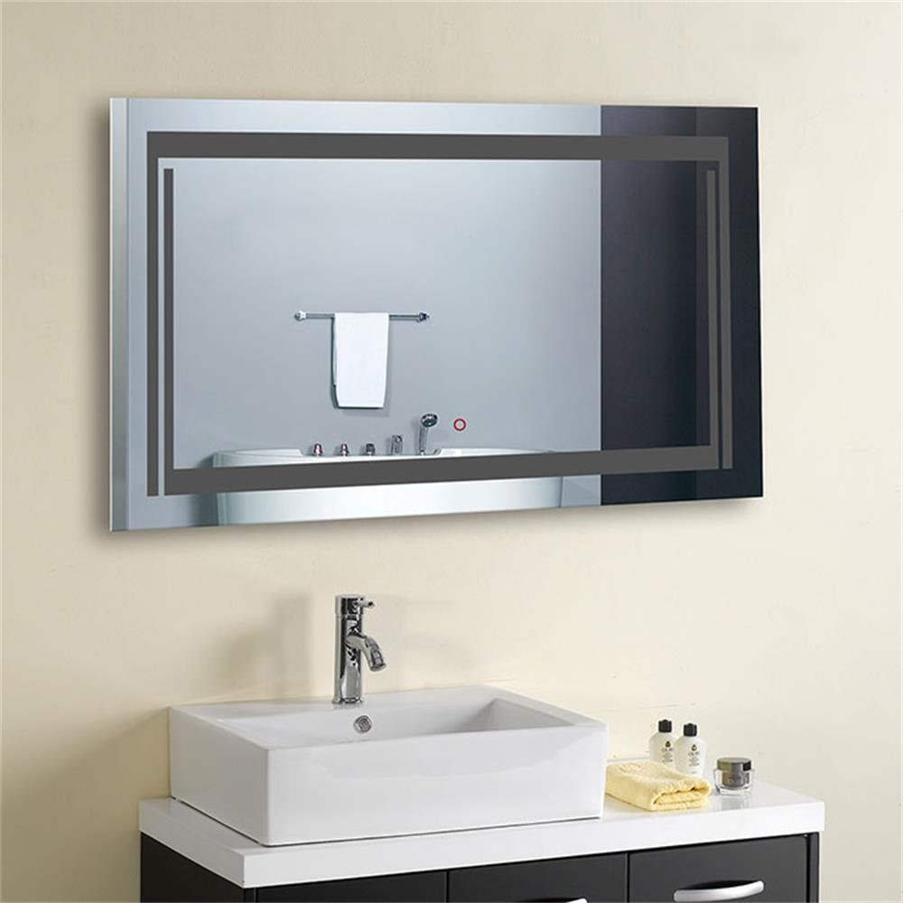 Decoraport 36 Inch 28 Inch Horizontal Led Wall Mounted Lighted Vanity Bathroom Silvered Mirror
