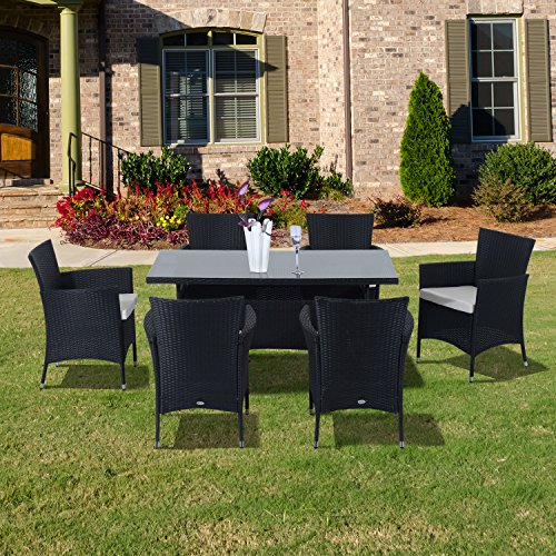 Outsunny-Rattan-Garden-Furniture-Dining-7-pc-Set-Patio-Rectangular-Table-6-Arm-Chairs-Fire-Retardant-Sponge-Black-New