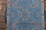 Tache 2 PC Square Teal Diamond Ocean Handwoven Persian Termeh Silk Art Cushion Cover