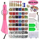 Hotfix Applicator, West Bay Hot Fix Rhinestone Applicator Wand Setter Tool Kit, 6072pcs Crystal AB, Clear&Colorful Stones with 7 Different Sizes Tips, Upgraded Bedazzle Kit, Carry Box,Manual,Tool Kit