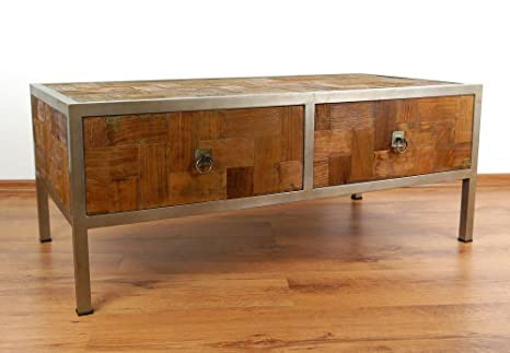 couchtisch aus metall und teakholz sofatisch im. Black Bedroom Furniture Sets. Home Design Ideas