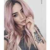 Hot light Pink Ombre Sytnhetic Wigs for Black Women Side Part Natural Wavy Curly Wigs for White African Women Dark Roots Ombre Heat Resistant Wigs Middle length