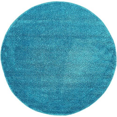 Unique Loom Solo Collection Plush Casual Turquoise Round Rug (6 x 6)