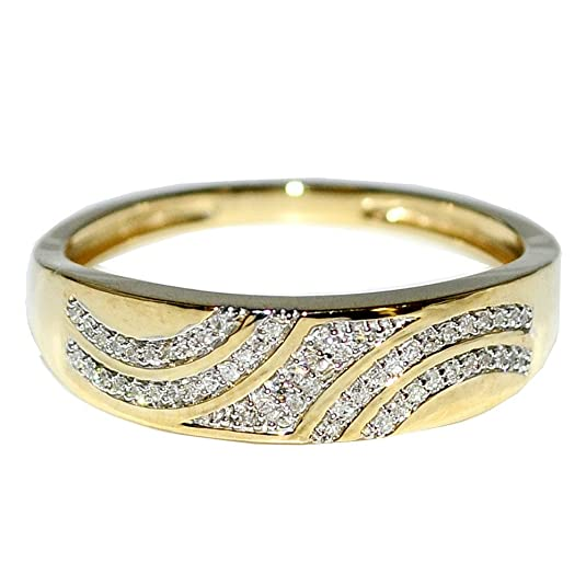 Midwest Jewellery Men's Wedding Band Rings Pave 10K Yellow Gold 1/10Cttw 5.5Mm Wide(I/J Color 0.1Cttw)