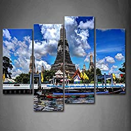 Modern Home Decoration painting Blue Wat Arun Temple In The Sky Sunny And Cloudy Pictures Print On Canvas Religion The Picture