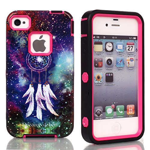 5C Case, Iphone 5C Case, New, Magicsky Iphone 5C Cover With Galaxy Dream Catcher Pattern Full Body Hybrid Impact Shockproof Defender Case Cover For Iphone 5C, 1 Pack(Dream Catcher/Hot Pink)