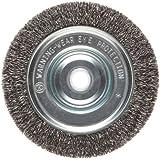 Weiler Vortec Pro Narrow Face Wire Wheel Brush, Round Hole, Carbon Steel, Crimped Wire