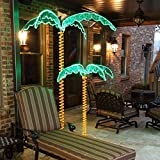 7' Deluxe Tropical LED Rope Light Palm Tree with Lighted Holographic Trunk and Fronds