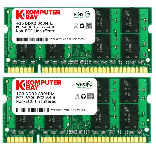 Komputerbay 8 GB (2 x 4GB) PC2-6400 DDR2-800 SoDIMM Dual Channel Laptop Memory Kit Black Friday & Cyber Monday 2014