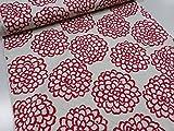 デフォルメ ダリア レッド ツイル生地   花柄 植物 かわいい 綿 コットン 布 入園入学 