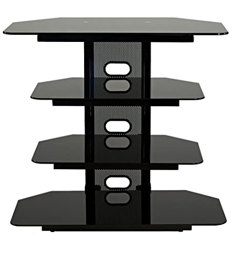 TransDeco Corner TV Stand with 3 AV Shelves for Up to 35-Inch Plasma/LCD TV