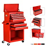 8-Drawer Rolling Tool Chest,Big Tool Chest and Tool Storage Cabinet,Tool Chest with 4 Wheels,Removable Portable Top Box with Lock Tool Chest for Garage and Warehouse-Bright red (Color: Bright red)