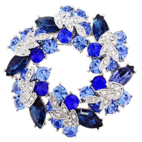 Sapphire Blue Wreath Pin Brooch And Pendant(Chain