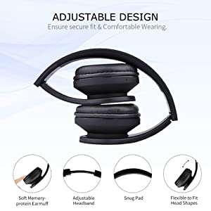 LOBKIN Bluetooth Headphones Over Ear, Stereo Wireless Headset with Microphone, Foldable Wireless and Wired Headphones with TF Card MP3 Mode and FM Radio for iPhone/Samsung/iPad/PC (Black) (Color: Black)