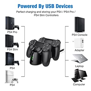 PS4 Controller Charger, BEBONCOOL PS4 Wireless Charger Dual USB Fast Charging for Sony Playstation 4 /PS4/ PS4 Pro/PS4 Slim Controller ,DualShock 4 Charging Station with LED Indicator,Black (Color: LED with railway high speed head, Tamaño: X02)