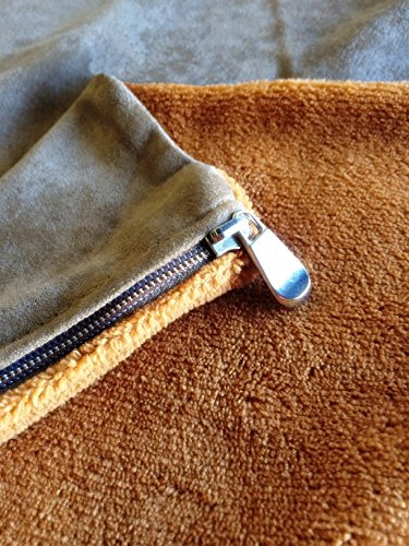 Replacement-Sudan-Brown-Coral-Fleece-Micro-Plush-Brown-MicroSuede-Zippered-Flat-Style-Duvet-External-Cover-for-Dog-Bed