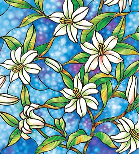 Bloss Window Film for Windows 17.7 by 78.7 Inch Static Cling Orchid Privacy Stained Glass Decorative Window Film, 1 Roll (House Window Tint Roll compare prices)