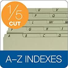 Globe-Weis Pressboard Vertical Guides, Letter Size, A-Z Index, 25 per Set, Blue, (95PX2125)