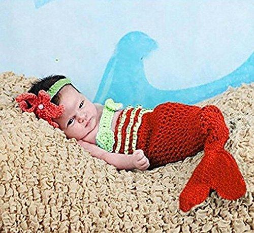Jastore® Infant baby niedlich Meerjungfrau Kostüm Fotografie Hut Set Handarbeit Häkelarbeit