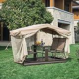 Outsunny Alu Hollywoodschaukel Gartenschaukel Pavillon Garten Schaukel 4 Person Tisch Braun
