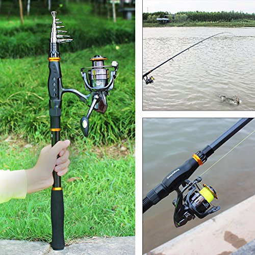 Sougayilang fishing rod reel combos carbon telescopic for Best freshwater fishing rods