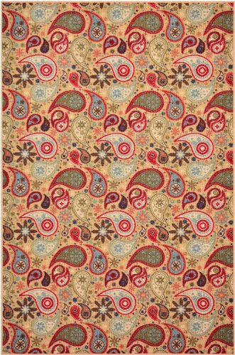 """Rubber Collection Paisley Beige Multi Color Printed Slip Resistant Rubber Back Latex Contemporary Modern Area Rugs And Runners (1142) (3'3""""X5') front-552047"""