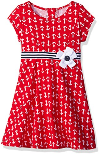Good Lad Big Girls Knit Dress with Anchors, Red, 6