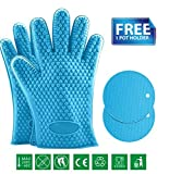 Yungui Eles(Tm) Silicone Oven Mitts Heat Resistant Silicone Bbq Grill Oven Gloves Barbecue For Kitchen Cooking, Baking, Smoking & Potholder ( Set Of 2 Mittens + 1 Pot Holder)