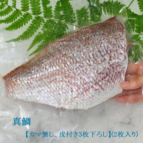 【真鯛】すごく美味しい!魚の王様(カマ無し、皮付き3枚下ろし【2枚入り(1尾)】)