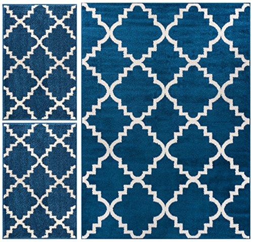 Nellis Trellis Dark Blue Navy Moroccan Lattice Geometric Oriental Dark Blue Ivory 3-piece Living Dining Room Entryway Bathroom Kitchen Ultra Value Area Rug Set 5x7 and Bonus 2x3 Mats (Dark Blue Kitchen compare prices)