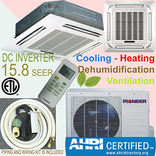 Pioneer 8-Way Ceiling Cassette Split Inverter Air Conditioner with Heat Pump, Mini (Pioneer Mini Split 24000 compare prices)