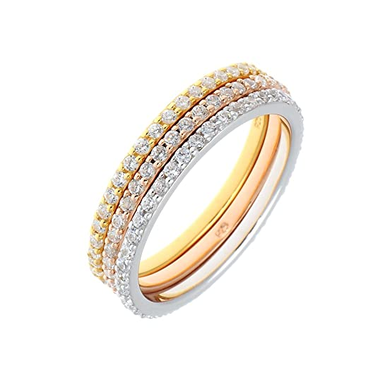Gold Plated Leaf Memory 3'er Ring Set with cubic Zirconia Sterling Silver, 22 Carat