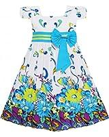 Sunny Fashion Robe Fille Bleu Fleur Court Manche Partie